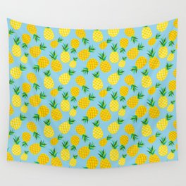 Tropical Pineapple Fruits on Turquoise Wall Tapestry