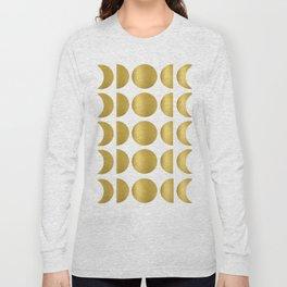 Gold Moon Phase Pattern Long Sleeve T-shirt