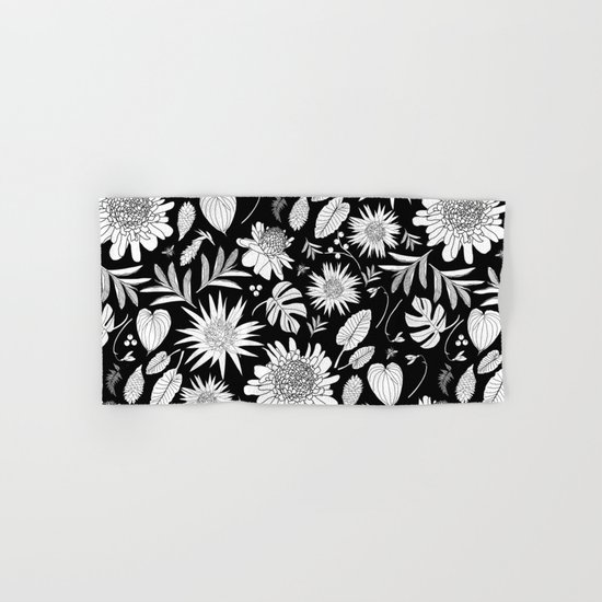 TROPICAL FLORAL BLACK & WHITE Hand & Bath Towel