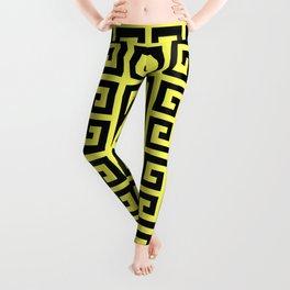 Greek Key (Light Yellow & Black Pattern) Leggings