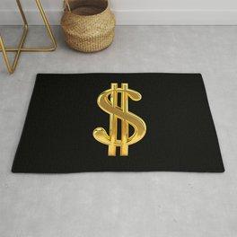 Gold Dollar Sign Black Background Rug