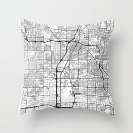 Las Vegas Map White Throw Pillow