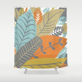 Bright Tropical Leaf Retro Mid Century Modern Shower Curtain