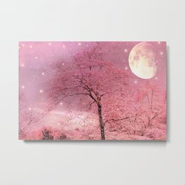 Surreal Fantasy Fairy Tale Pink Nature Trees Stars Full Moon Metal Print