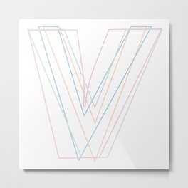 Intertwined Strength and Elegance of the Letter V Metal Print