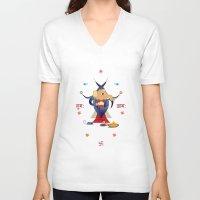 hindu V-neck T-shirts featuring Ganesha: Hindu God of good luck by IDigType
