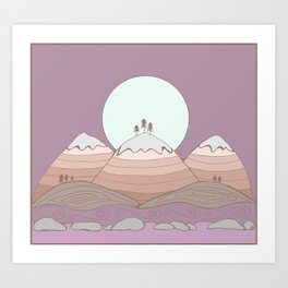 Moon over the Mountians Art Print