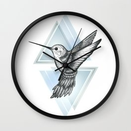 Hummingbird - Blue Wall Clock