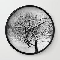 blankets Wall Clocks featuring Blankets of Snow by Bella Blue Photography