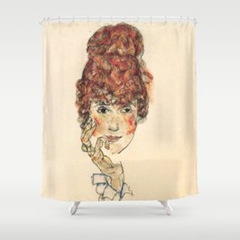 "Egon Schiele ""Portrait of Edith Schiele"" Shower Curtain"
