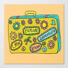 Let's Travel Retro Suitecase Canvas Print
