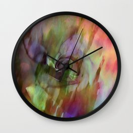 Rainbow Rose Floral Abstract Wall Clock