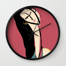 The girl in rouge Wall Clock