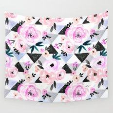 Sunset Rose Triangles Wall Tapestry