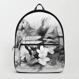 Butterflies and Frangipani in black and white Backpack