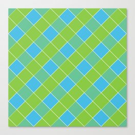 PLAID, NEON BLUE AND LIME GREEN Canvas Print