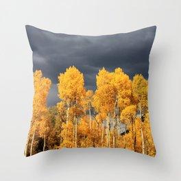 Golden Aspens and an Impending Storm Throw Pillow