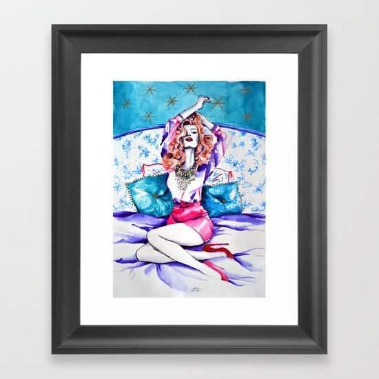 Red in bed Framed Art Print