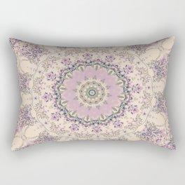 47 Wisteria Circle - Vintage Cream and Lavender Purple Mandala Rectangular Pillow