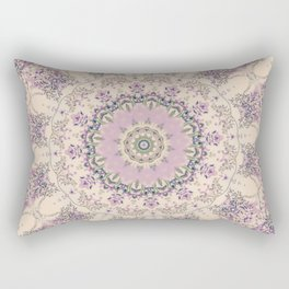 47 Wisteria Circle - Vintage Cream and Lavender Purple Mandala Rectangular Pillow