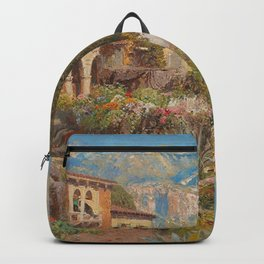 Lakeside View of Riva and Flower Gardens on Lake Garda, Italy landscape painting Backpack