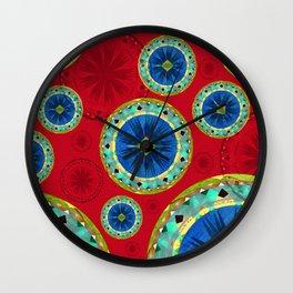 Deepest Crimson Red and Royal Blue Aztec Boho Mandalas Wall Clock