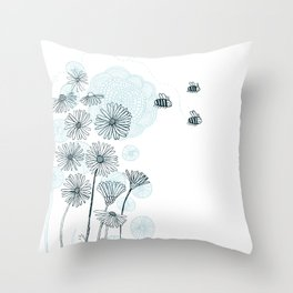 Summer Bees Throw Pillow