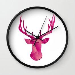 Deerhead in pink Wall Clock