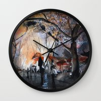 autumn Wall Clocks featuring Autumn rain - watercolor by Nicolas Jolly