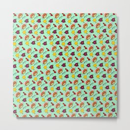 Hammy Pattern in Mint Green Metal Print