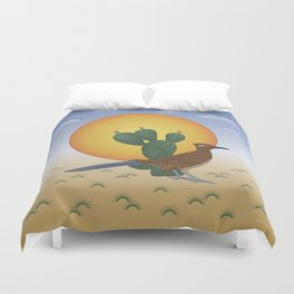 Soul of the Southwest - Roadrunner in the Desert Duvet Cover