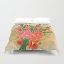 Bouquet of pink and red gladioluses Duvet Cover