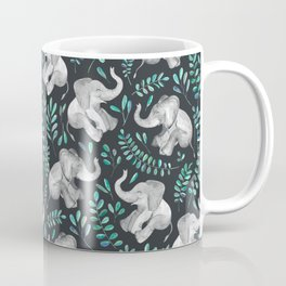 Laughing Baby Elephants – emerald and turquoise Coffee Mug