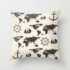 Nautical Exploration Throw Pillow