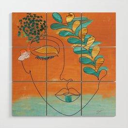 Monoline Woman Gilded Flowers Wood Wall Art