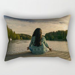 Woman Meditating On Dock By Lake Rectangular Pillow