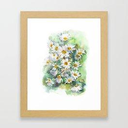Watercolor chamomile white flowers Framed Art Print