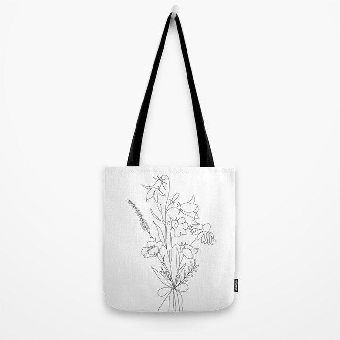 Small Wildflowers Minimalist Line Art Tote Bag