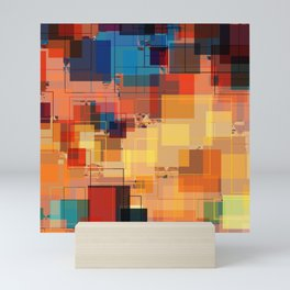 Multi color Square Geometrical Overlays Mini Art Print