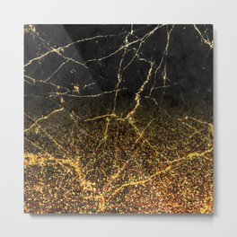 Fire Gold Glitter and Black Marble Metal Print