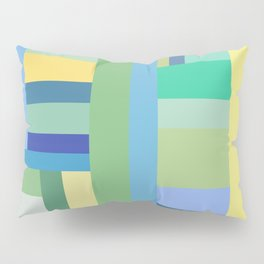 Abstract Blue Mint Green Geometry Pillow Sham
