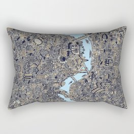 London colored map detailed drawing pen ink thames Rectangular Pillow