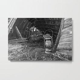 Vintage Lantern in Abandoned Barn 1 Metal Print