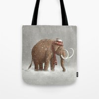 dude Tote Bags featuring The Ice Age Sucked by Terry Fan