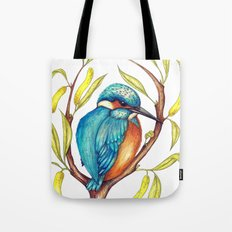 Kingfisher on Willow Tote Bag