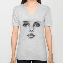 Woman's Face Unisex V-Neck
