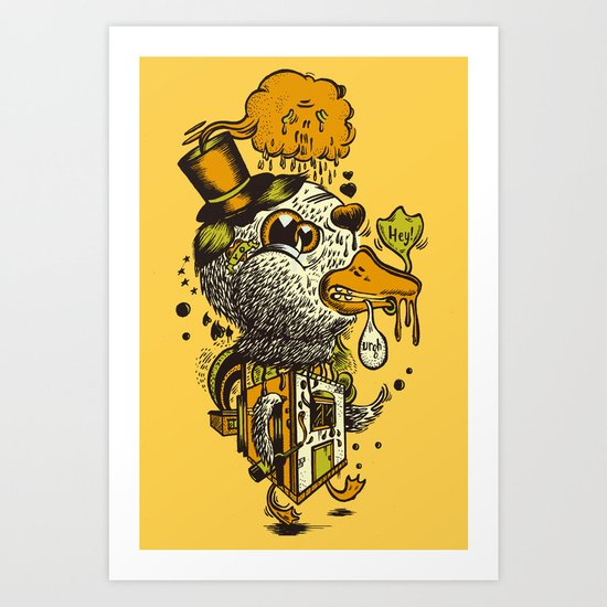 A Disorientated Duck Goes For A Stroll Art Print