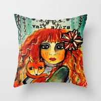 michael myers Throw Pillows featuring Vali Myers by Shelleythecreatologist