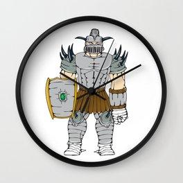 Horned Knight Full Armor Shield Cartoon Wall Clock