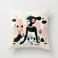 ruben ireland Throw Pillows featuring Kobana - Muxxi X Ruben Ireland by Muxxi